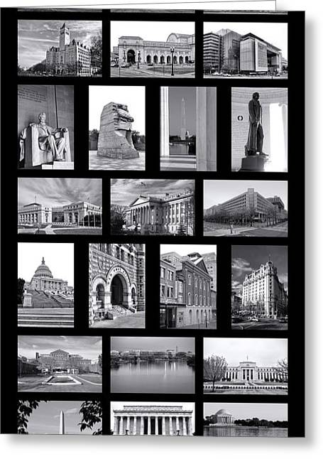 District Of Columbia Greeting Cards - Washington DC Poster Greeting Card by Olivier Le Queinec