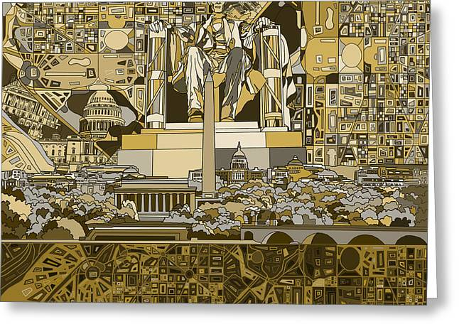 Abstract Map Greeting Cards - Washington Dc Skyline Abstract 4 Greeting Card by MB Art factory