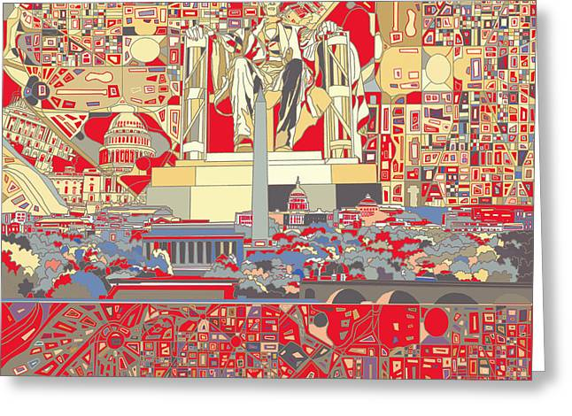 Abstract Map Greeting Cards - Washington Dc Skyline Abstract 6 Greeting Card by MB Art factory