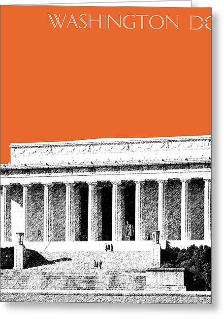 Washington Dc Skyline Lincoln Memorial - Coral Greeting Card by DB Artist