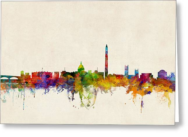 Watercolour Greeting Cards - Washington DC Skyline Greeting Card by Michael Tompsett