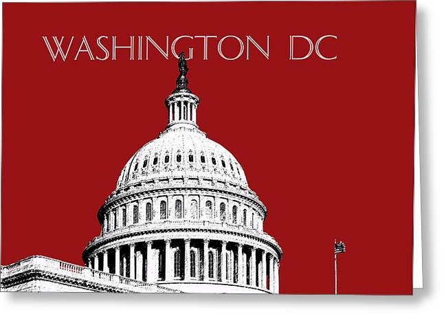 Washington DC Skyline The Capital Building -  Dk Red Greeting Card by DB Artist