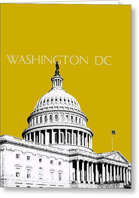 Washington D.c. Digital Art Greeting Cards - Washington DC Skyline The Capital Building - Gold Greeting Card by DB Artist