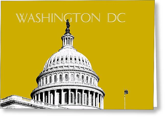 Washington DC Skyline The Capital Building - Gold Greeting Card by DB Artist