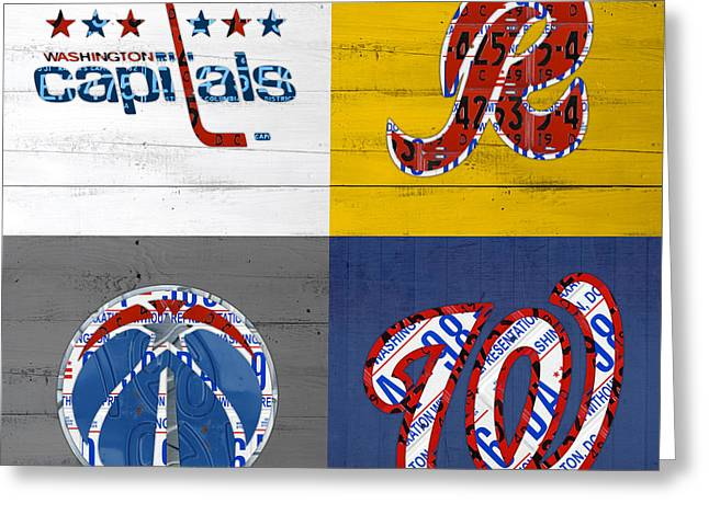 Washington Dc Sports Fan Recycled Vintage License Plate Art Capitals Redskins Wizards Nationals Greeting Card by Design Turnpike