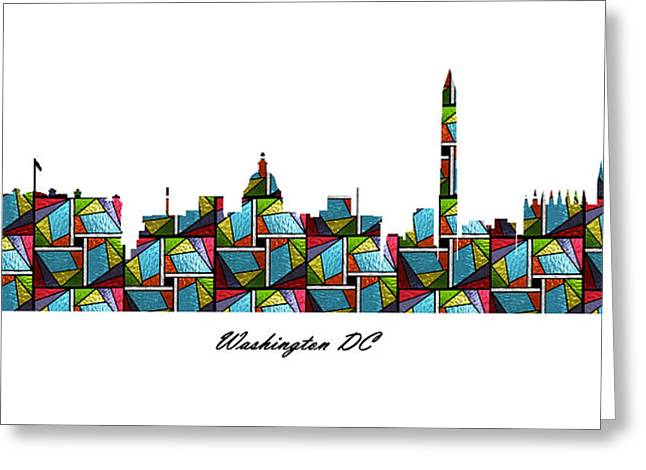 Glass Wall Greeting Cards - Washington DC Stained Glass Skyline Greeting Card by Gregory Murray