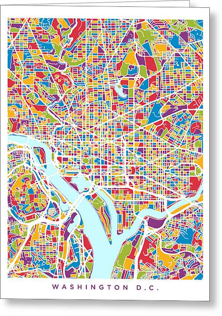 Washington Dc Greeting Cards - Washington DC Street Map Greeting Card by Michael Tompsett