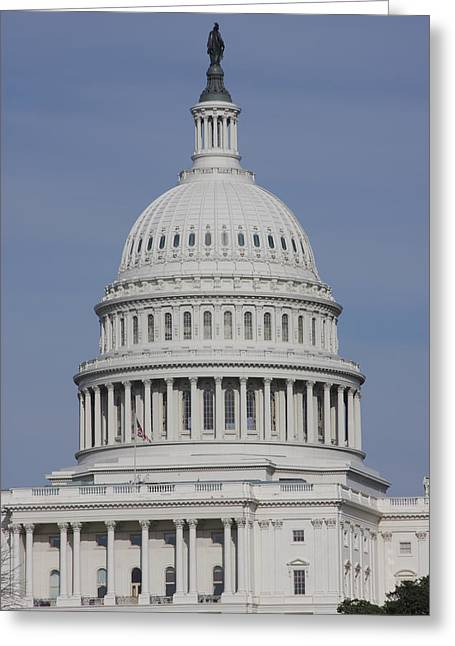Usa Photographs Greeting Cards - Washington DC - US Capitol - 01137 Greeting Card by DC Photographer