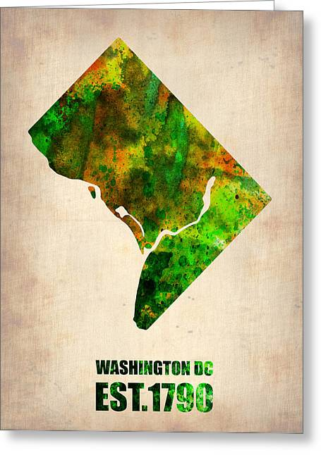 Washington Dc Greeting Cards - Washington DC Watercolor Map Greeting Card by Naxart Studio
