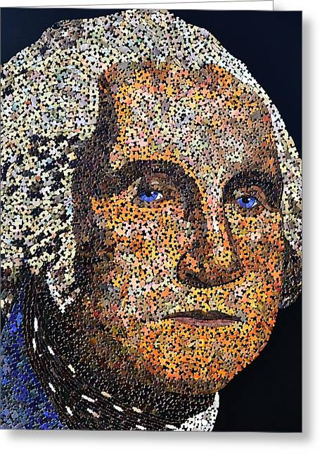 President Of America Mixed Media Greeting Cards - Washington Greeting Card by Doug Powell