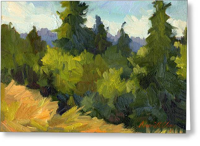 Pacific Northwest Paintings Greeting Cards - Washington Evergreens Greeting Card by Diane McClary