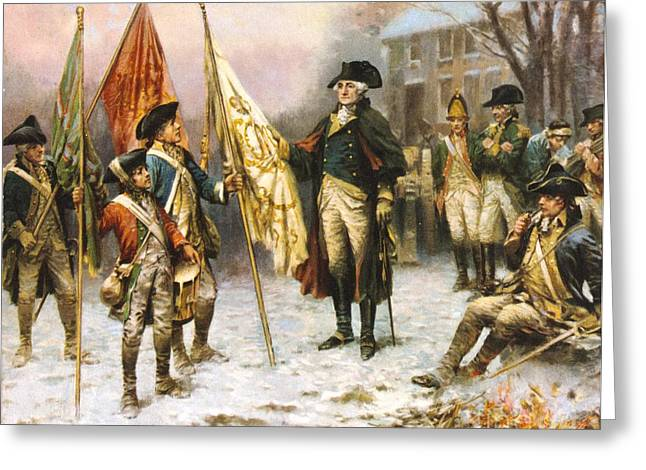British Defeat Greeting Cards - Washington Inspecting captured Colors Greeting Card by Pg Reproductions
