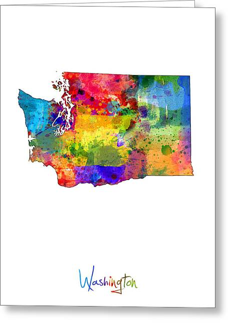 Cartography Digital Art Greeting Cards - Washington Map Greeting Card by Michael Tompsett