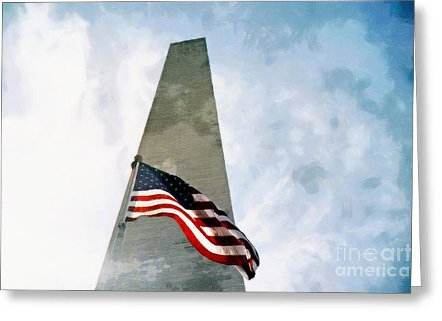 Photos With Red Greeting Cards - Washington Monument and American Flag Greeting Card by Nishanth Gopinathan