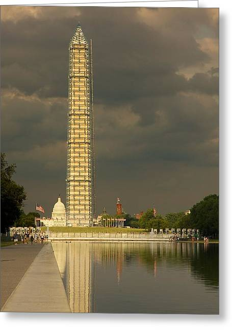 Grey Clouds Greeting Cards - Washington Monument and Capitol #3 Greeting Card by Stuart Litoff