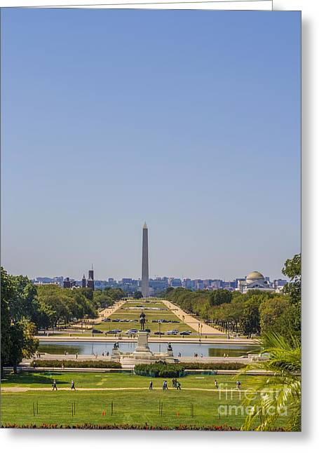Monolith Greeting Cards - Washington Monument and the Mall Greeting Card by Patricia Hofmeester