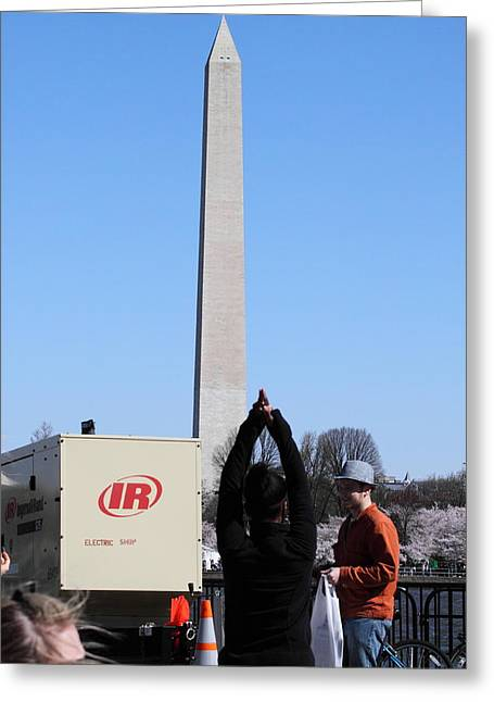 Blooming Greeting Cards - Washington Monument - Cherry Blossoms - Washington DC - 01131 Greeting Card by DC Photographer