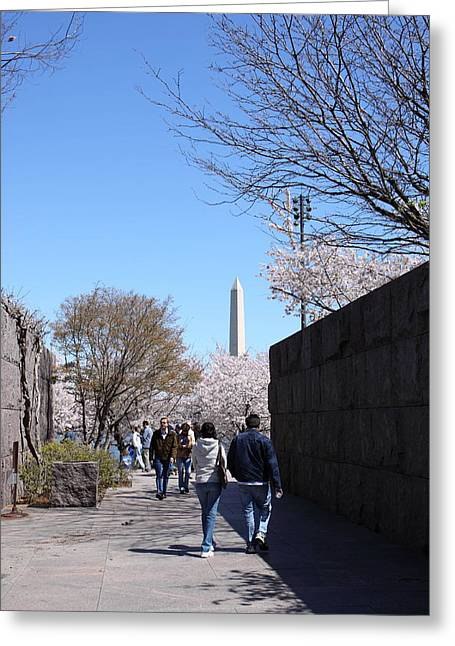 Washington Monument - Cherry Blossoms - Washington Dc - 01134 Greeting Card by DC Photographer