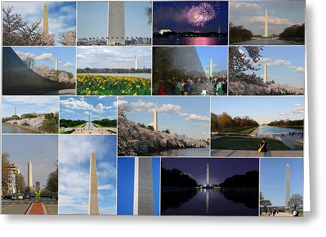 Washington Monument Collage 2 Greeting Card by Allen Beatty
