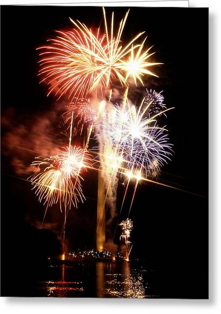 4th July Photographs Greeting Cards - Washington Monument Fireworks 2 Greeting Card by Stuart Litoff