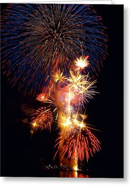 4th July Photographs Greeting Cards - Washington Monument Fireworks 3 Greeting Card by Stuart Litoff