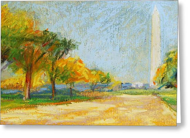 Washington D.c. Pastels Greeting Cards - Washington Monument in  Autumn Greeting Card by Bethany Bryant