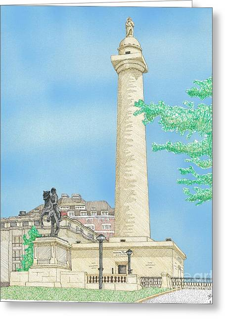 Washington Monument In Baltimore Greeting Card by Calvert Koerber