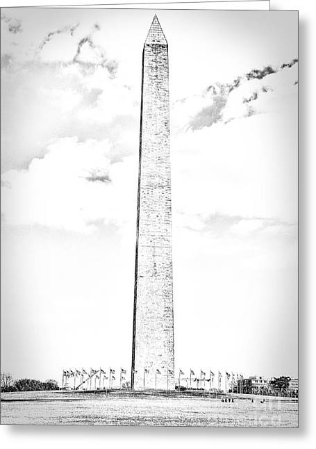 Us Capital Greeting Cards - Washington Monument in Black and White Greeting Card by Emily Enz