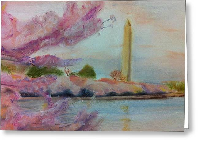Washington D.c. Pastels Greeting Cards - Washington Monument Greeting Card by Tiffany Albright