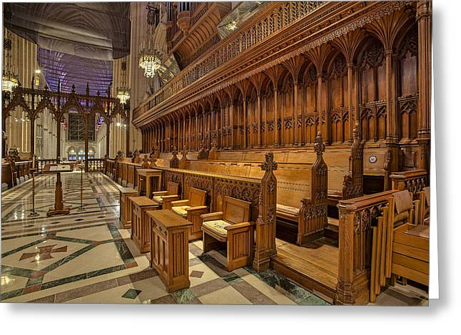 Washington National Cathedral Sanctuary Greeting Card by Susan Candelario