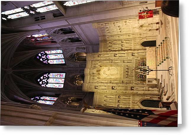 Churches Greeting Cards - Washington National Cathedral - Washington DC - 0113101 Greeting Card by DC Photographer