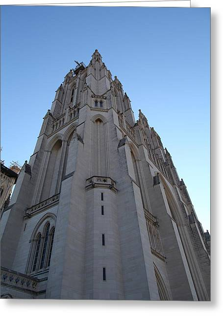 Hall Photographs Greeting Cards - Washington National Cathedral - Washington DC - 0113121 Greeting Card by DC Photographer