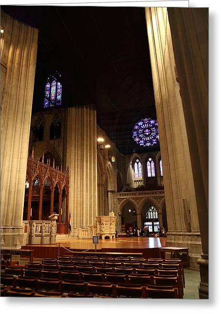 Granite Greeting Cards - Washington National Cathedral - Washington DC - 011314 Greeting Card by DC Photographer