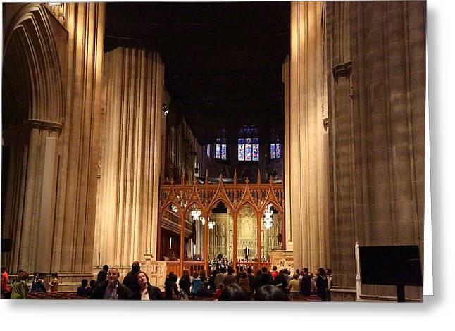 Religious Photographs Greeting Cards - Washington National Cathedral - Washington DC - 011335 Greeting Card by DC Photographer