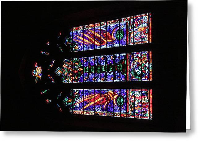 Window Greeting Cards - Washington National Cathedral - Washington DC - 011378 Greeting Card by DC Photographer
