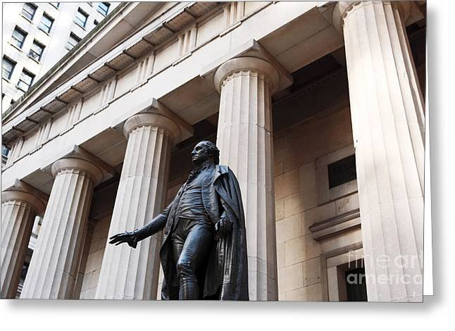 Sculpture Gallery Greeting Cards - Washington on Wall Street Greeting Card by John Rizzuto