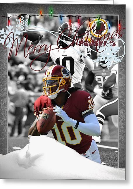 Washington Redskins Christmas Card Greeting Card by Joe Hamilton