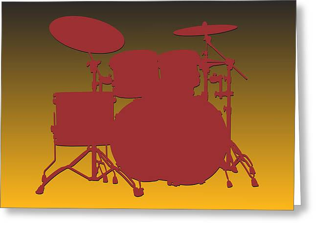 Drum Greeting Cards - Washington Redskins Drum Set Greeting Card by Joe Hamilton