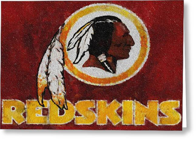 Best Sellers -  - Division Greeting Cards - Washington Redskins Mosaic Greeting Card by Jack Zulli