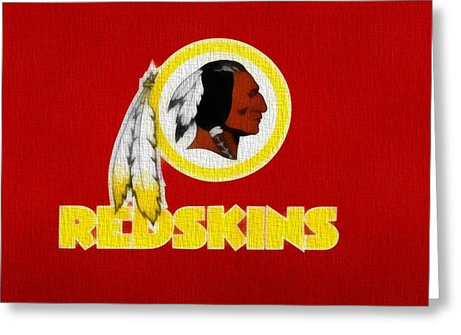 League Paintings Greeting Cards - Washington Redskins On Canvas Greeting Card by Dan Sproul
