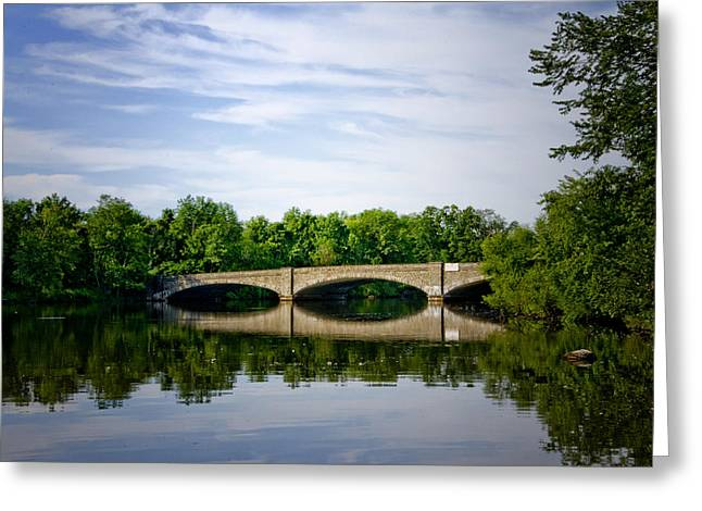 Millstone Greeting Cards - Washington Road Bridge over Lake Carnegie Princeton Greeting Card by Bill Cannon