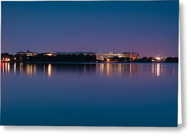 Nighttime Greeting Cards - Washington Skyline Greeting Card by Sebastian Musial