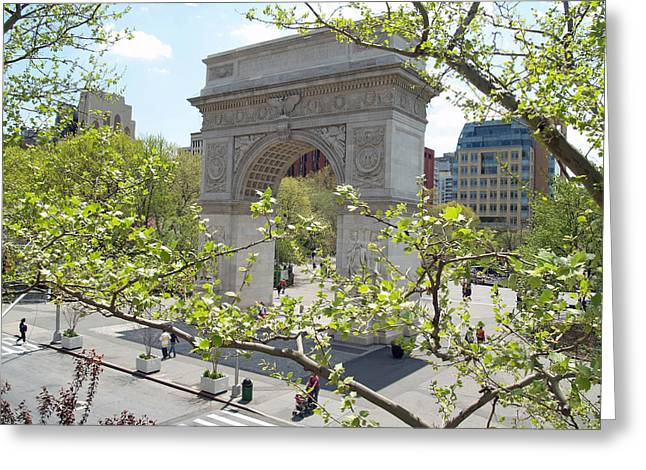 Crosswalk Greeting Cards - Washington Square Arch Greeting Card by Nomad Art And  Design