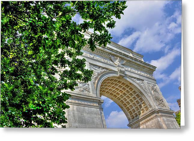Washington Square Park Greeting Cards - Washington Square Arch Profile View Greeting Card by Randy Aveille