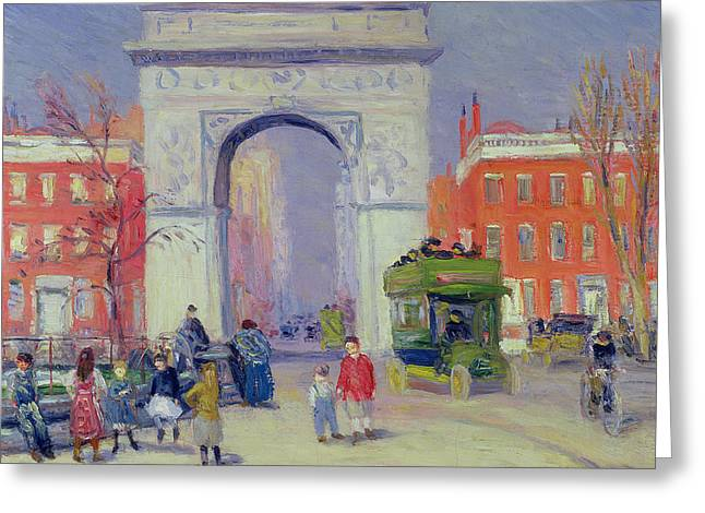 Arch Greeting Cards - Washington Square Park, C.1908 Greeting Card by William James Glackens