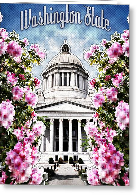 State Flowers Greeting Cards - Washington State Capitol Greeting Card by April Moen