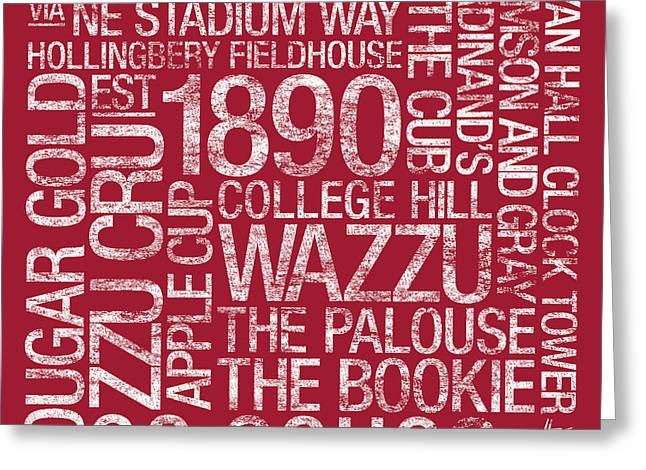 Mascot Greeting Cards - Washington State College Colors Subway Art Greeting Card by Replay Photos