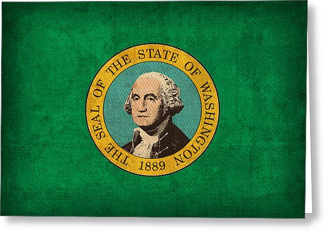 Washington State Greeting Cards - Washington State Flag Art on Worn Canvas Greeting Card by Design Turnpike