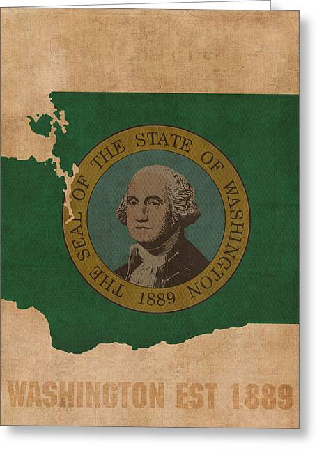 Washington State Greeting Cards - Washington State Flag Map Outline With Founding Date on Worn Parchment Background Greeting Card by Design Turnpike