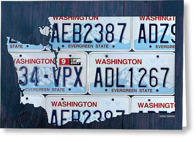 Washington State Greeting Cards - Washington State License Plate Map Art Greeting Card by Design Turnpike
